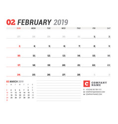 Calendar template for february 2019 business vector
