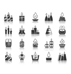 candle flame black silhouette icons set vector image