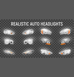 Car headlights realistic set vector