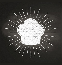 Chefs toque chalk silhoutte with sun rays vector