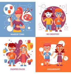Children With Painted Faces Concept Icons Set vector image