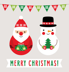 christmas greeting card with santa claus and vector image