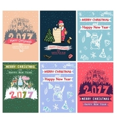 Collection of 6 Christmas card templates Posters vector image
