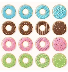 Collection of sixteen glazed colorful donuts vector