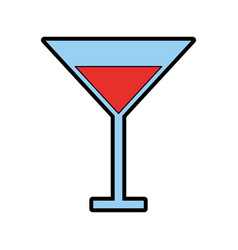 Color red cocktail cartoon vector