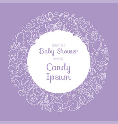 Cute bashower invitation card for newborn boy vector