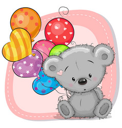 Cute cartoon teddy bear with balloons vector
