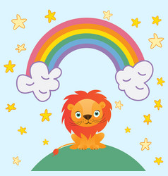 Cute lion cartoon on rainbow background and stars vector