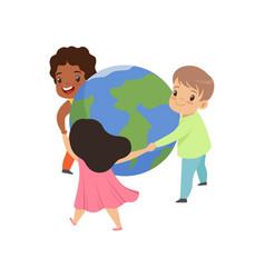 Cute little kids holding hands around world vector