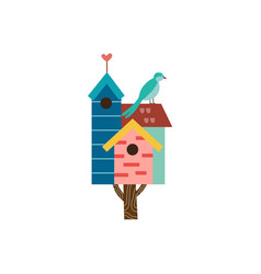 Cute spring birdhouse on tree with small bird flat vector
