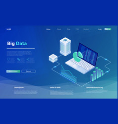 data analysis concept modern flat design isometric vector image