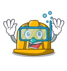 Diving construction helmet character cartoon vector