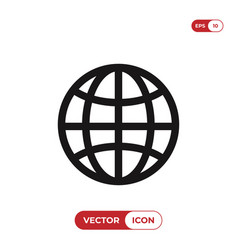 earth grid icon web symbol vector image