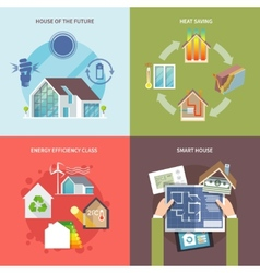 Energy Saving House Flat vector