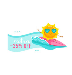 extra off banner with cute cartoon sun character vector image
