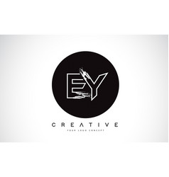 ey modern leter logo design with black and white vector image