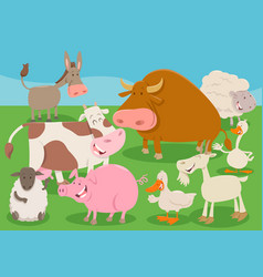 farm animal characters group cartoon vector image