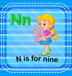 Flashcard letter n is for nine vector