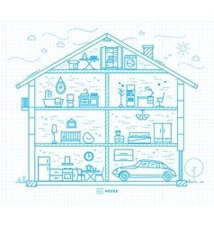 Flat big house silhouette blue vector