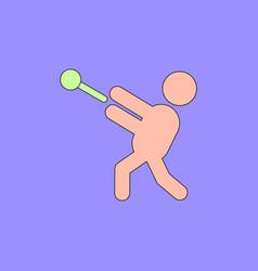 Flat isometric athletics hammer throw summer vector