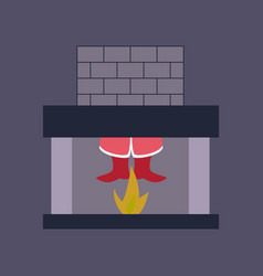 Flat on background of santa claus in fireplace vector