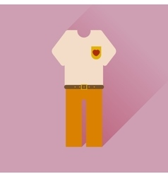 Flat web icon with long shadow shirt pants vector