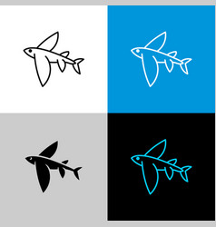 flying fish thin linear simple icon side view vector image