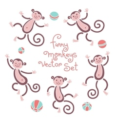 Funny monkeys isolated set of vector