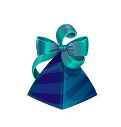 Gift box or present case with blue green bow tie vector