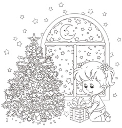 Girl and Christmas gift vector