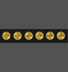 golden tv labels vector image