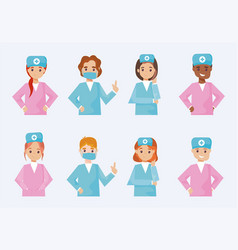 Group nurses in different poses on white vector