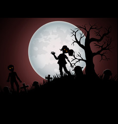 Halloween background with zombies and the moon on vector