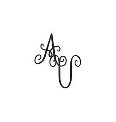 Handwritten monogram av icon vector