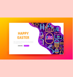 Happy easter neon landing page vector