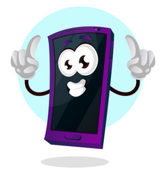 happy mobile emoji with both thumbs up on white vector image