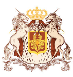 Heraldic design with coat of arms and unicorns vector
