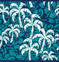 hibiscus flowers with palms fabric wallpaper vector image