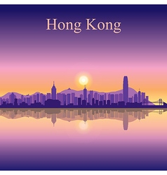 Hong Kong silhouette on sunset background vector
