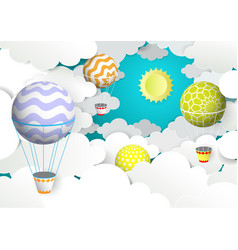 Hot air balloons in sky vector