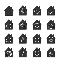 houses glyph icons set vector image