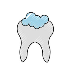 human tooth with toothpaste vector image