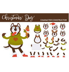 Husky dog constructor knitted sweater and ice vector