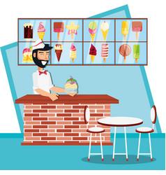 Ice cream salesman in kiosk character vector