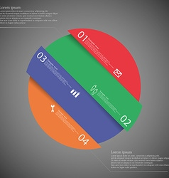 Infographic template with circle askew divided to vector