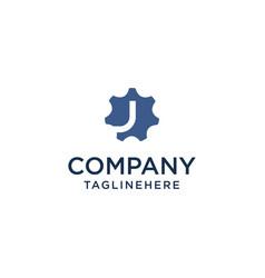 j logo initial letter design template inside gear vector image