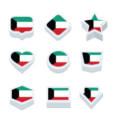 kuwait flags icons and button set nine styles vector image