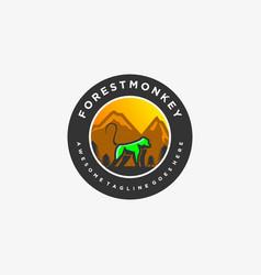 Logo forest monkey vintage badge vector