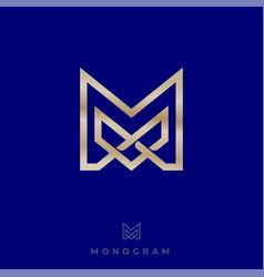 Logo premium m monogram intertwined gold lines vector