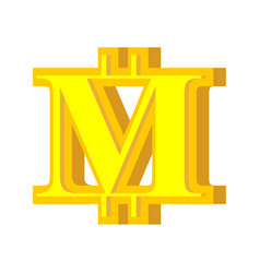 m letter bitcoin font cryptocurrency alphabet vector image